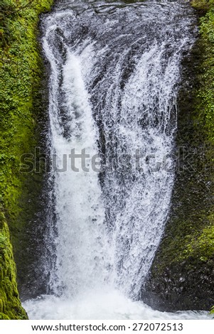 Beautiful Waterfalls in Multnomah Oregon and Columbia River Gorg - stock photo