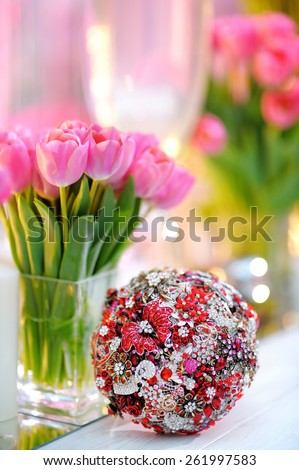 Beautiful wedding bouquet decorated with gem  - stock photo
