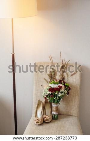 beautiful wedding bouquet of wildflowers. - stock photo