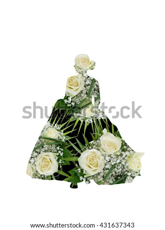 Beautiful wedding bouquets in Bride silhouette - double exposure effect - stock photo