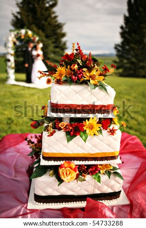 beautiful wedding cake with couple in back - stock photo