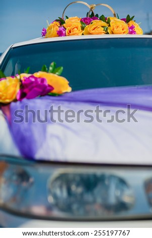 Beautiful wedding car decoration - stock photo