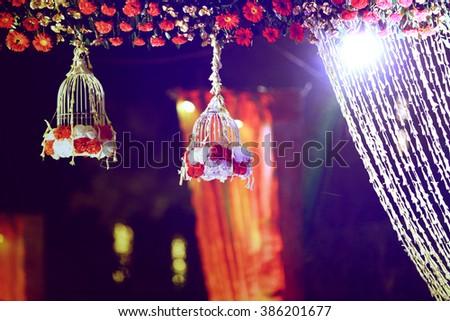 Beautiful wedding ceremony design decoration elements. - stock photo