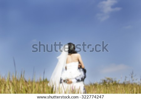 Beautiful wedding couple hugging in a field with grass eared. - stock photo