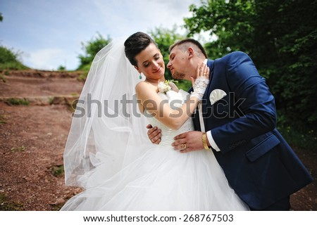 beautiful wedding couple on a red rock - stock photo