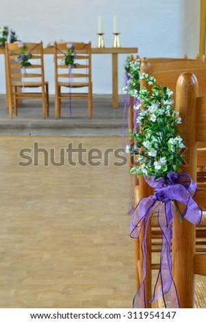 beautiful wedding decoration in the church - stock photo
