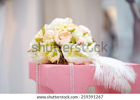 Beautiful wedding flowers bouquet (made of ranunculus)  - stock photo