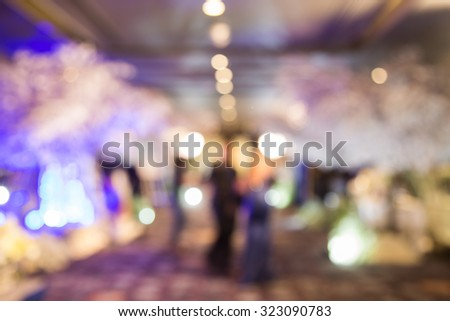 Beautiful wedding party under purple lights ,Soft & Dreamy Effect, Low Clarity , bokeh background - stock photo