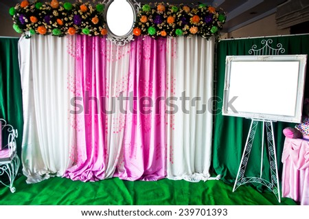 Beautiful wedding pink decoration - stock photo