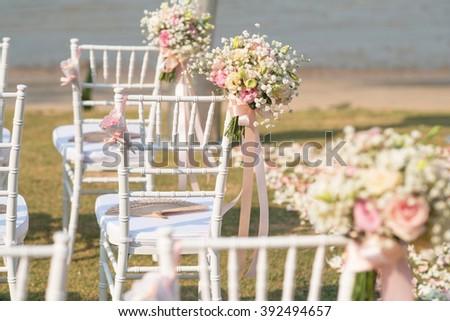 beautiful  Wedding setting on the beach with sunny at Phuket Thailand - stock photo