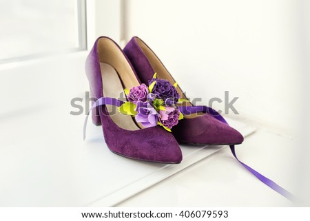 beautiful wedding shoes - stock photo