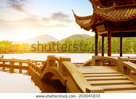 beautiful west lake scenery at dusk in hangzhou,China - stock photo
