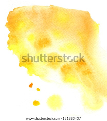 Beautiful wet yellow streaks watercolor background - stock photo