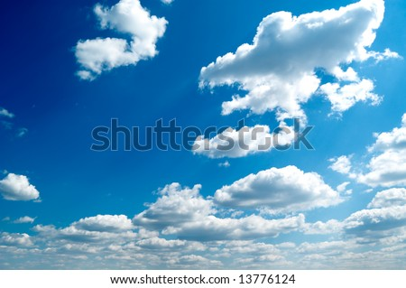 beautiful white clouds in the blue sky - stock photo