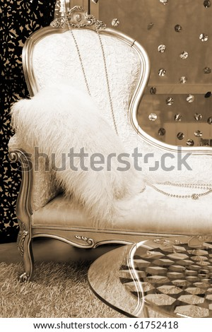 beautiful white couch near the window - stock photo