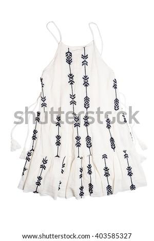 Beautiful white dress isolated over white - stock photo