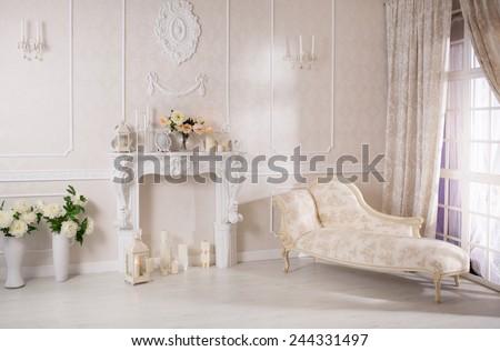 Beautiful white interior - stock photo