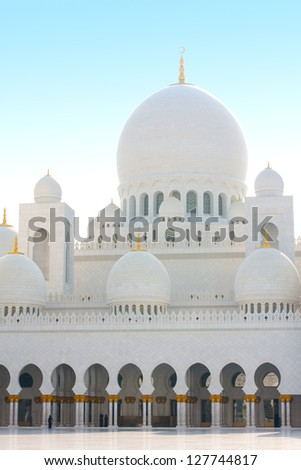 Beautiful white marble Sheikh Zayed mosque at Abu Dhabi - stock photo
