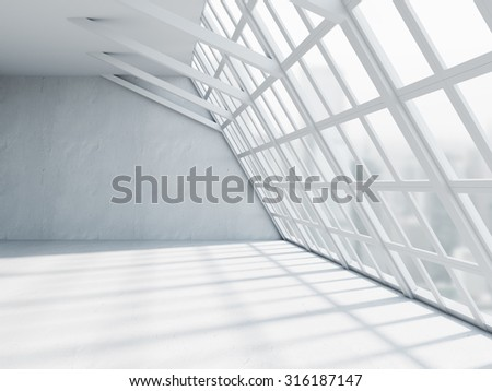 Beautiful white office interior with windows and concrete floors. 3d render - stock photo