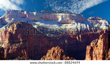 Beautiful white sandstone cliffs at Zion National Park - stock photo