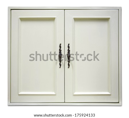 beautiful white wooden door of modern cupboard on white background - stock photo