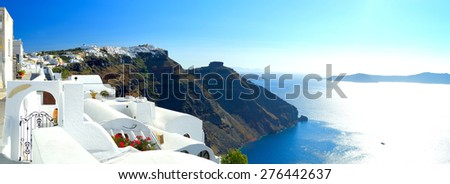 Beautiful whitewashed streets of Santorini and volcanic caldera sunset, Santorini, Cyclades archipelago, Greece - stock photo