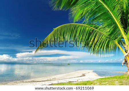 Beautiful wild beach at remote island, Philippines - stock photo