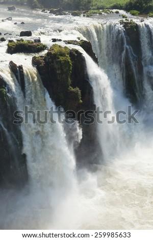 Beautiful wild landscape nature jungle rain forest iguazu waterfalls argentina - stock photo