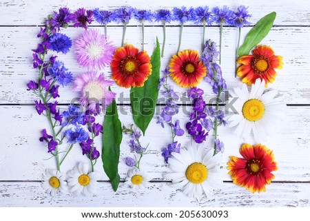 Beautiful wildflowers on wooden background - stock photo