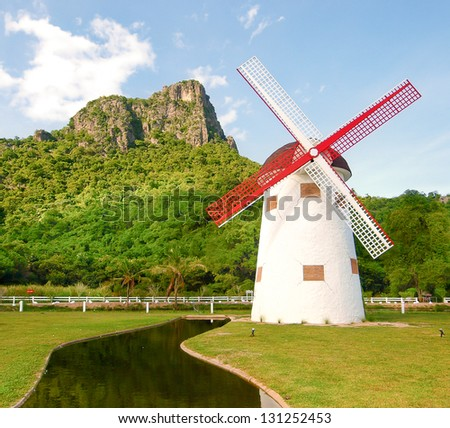 beautiful windmill landscape in Thailand - stock photo