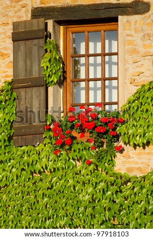 Beautiful window in Burgundy , France . - stock photo