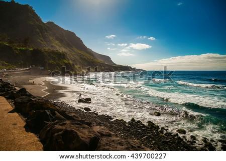 beautiful windy beach Playa El Socorro, Los Realejos, Puerto de la Cruz, Tenerife, Spain - stock photo
