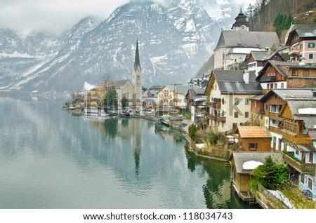 Beautiful winter Alpine Hallstatt Town and lake Hallstatter See view (Austria) - stock photo