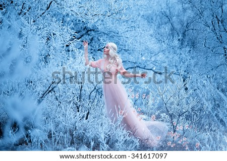 beautiful winter and spring walks in the woods and leaves whimsical patterns of snow on branches lady in long pastel dress,creative computer colors,fashionable toning - stock photo