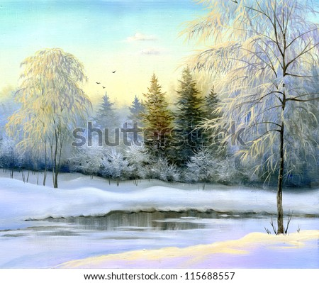 beautiful winter landscape, canvas, oil - stock photo