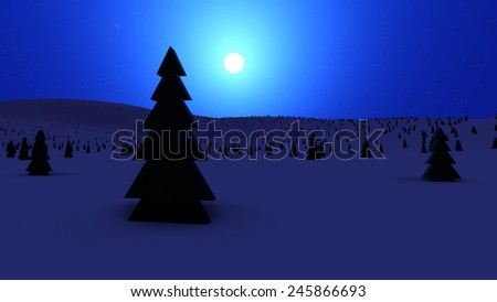 Beautiful winter landscape in the mountains at night with moon - stock photo