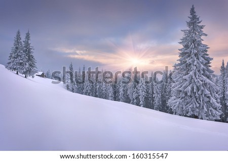 Beautiful winter landscape in the mountains. Sunset - stock photo