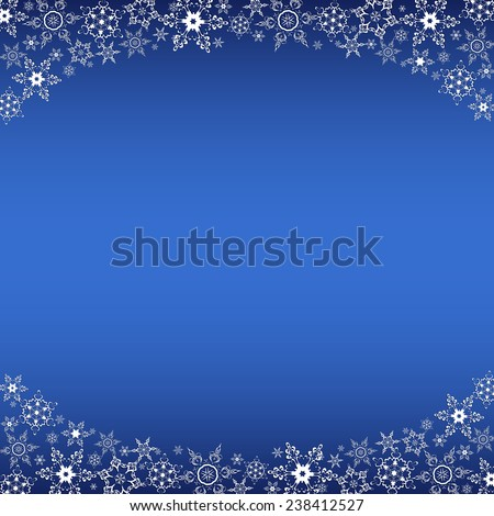 Beautiful winter oval frame blue with white stylized snowflakes. Christmas and New Year celebratory card with place for text. Stylish festive background. Raster illustration - stock photo