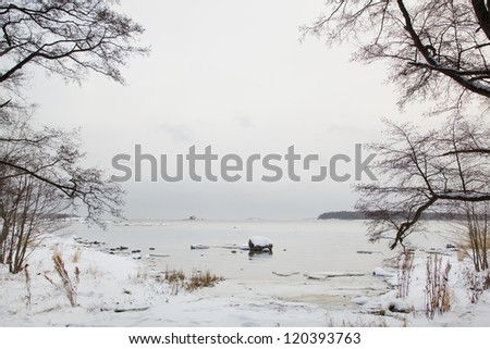 Beautiful winter scenery, Finland - stock photo