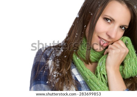 Beautiful winter snow scarf woman - stock photo