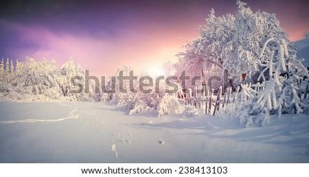 Beautiful winter sunrise in mountain village. Retro style. - stock photo
