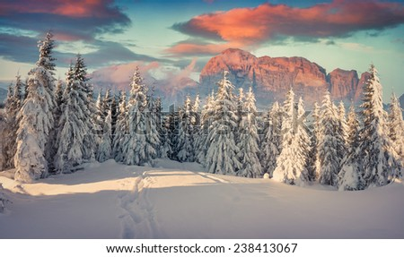 Beautiful winter sunrise in the mountains. Retro style. - stock photo