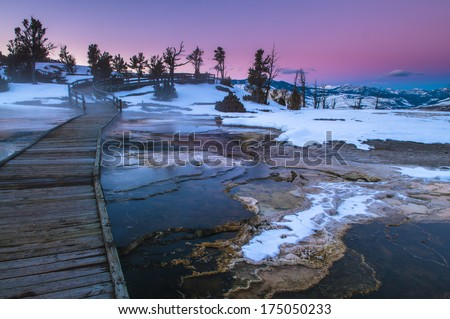 Beautiful Winter Sunset in Yellowstone - stock photo