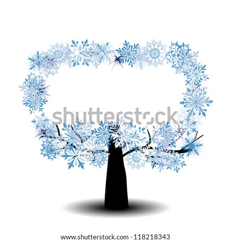 Beautiful winter tree with snowflakes leaves. Raster version. - stock photo