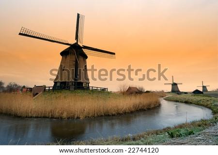 beautiful winter windmill landscape in the Netherlands - stock photo