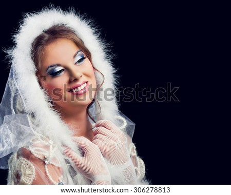 beautiful woman against red colourful background, Christmas topic - stock photo