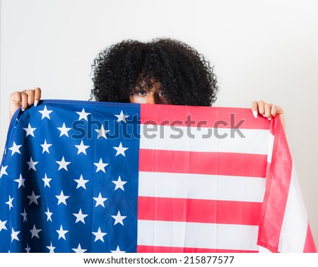Beautiful woman, American flag, variety of poses. Patriotic concept. All American beauty. - stock photo