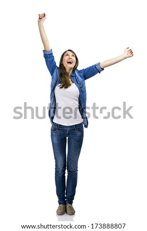 Beautiful woman and verry happy woman with arms on the air, isolated over white background - stock photo