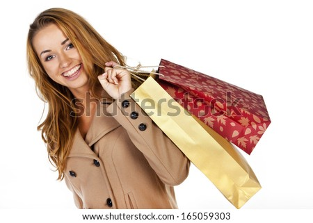 beautiful woman are happy after shopping  - stock photo