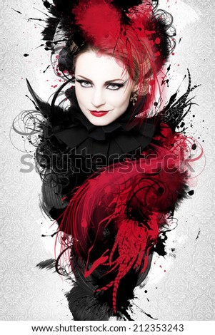 Beautiful woman, Artwork with ink in grunge style - stock photo